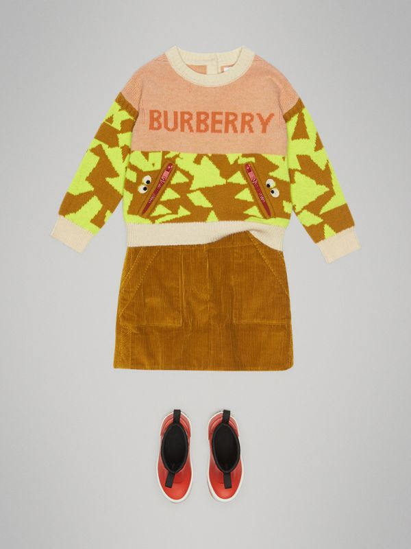 Corduroy A-line Skirt in Ochre - Girl | Burberry - cell image 2