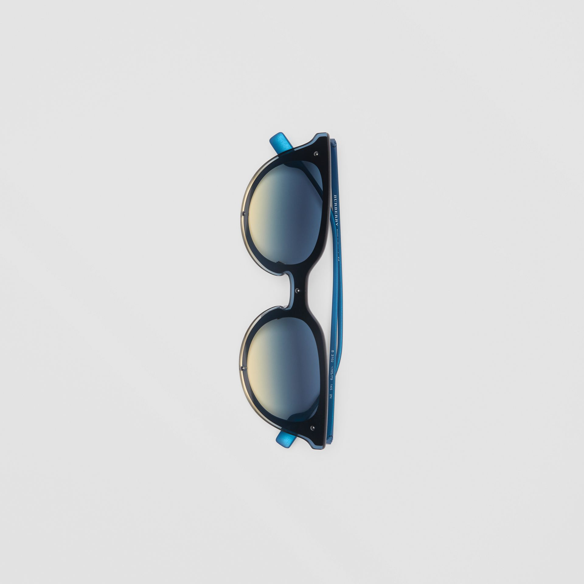 Keyhole Round Frame Shield Sunglasses in Blue - Women | Burberry United States - gallery image 3