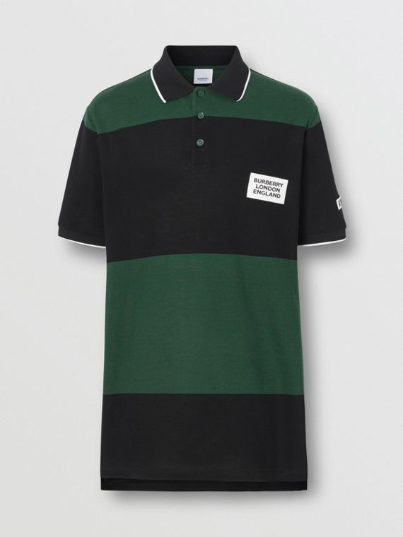 Logo Appliqué Striped Cotton Polo Shirt in Dark Pine Green