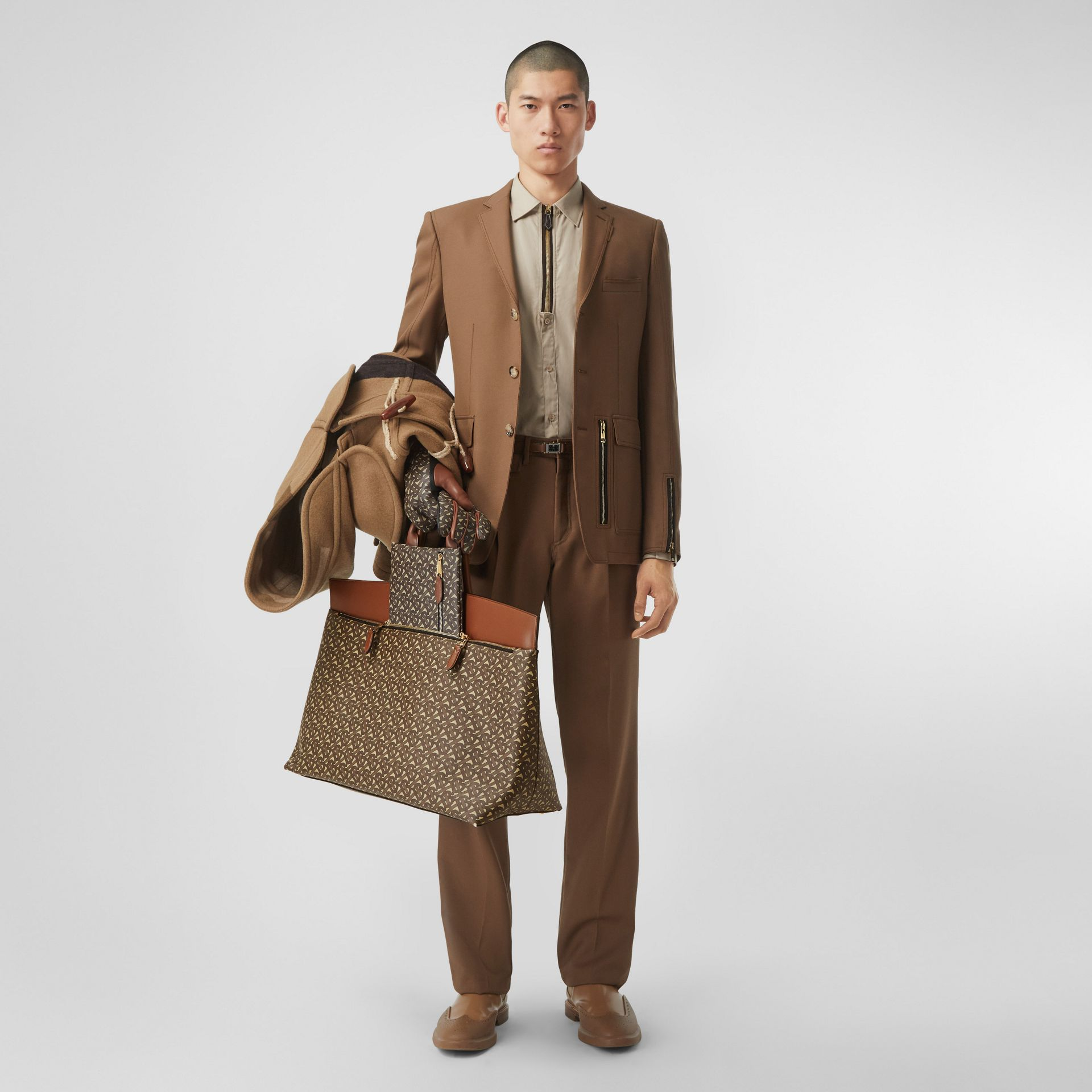 Extra Large Monogram E-canvas Society Top Handle Bag in Bridle Brown - Men | Burberry Hong Kong S.A.R - gallery image 5