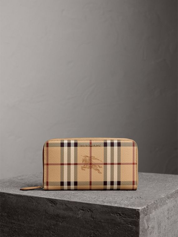 Haymarket Check and Leather Ziparound Wallet in Mid Camel - Women   Burberry - cell image 3