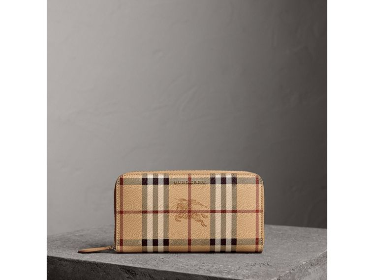 Haymarket Check and Leather Ziparound Wallet in Mid Camel - Women | Burberry United Kingdom - cell image 4