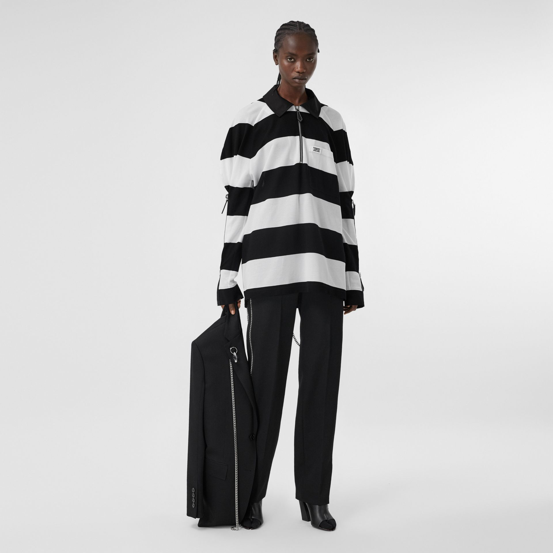 Zip Detail Striped Cotton Piqué Oversized Rugby Shirt in Black/white - Women | Burberry - gallery image 0