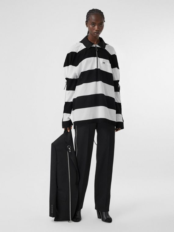 Zip Detail Striped Cotton Piqué Oversized Rugby Shirt in Black/white