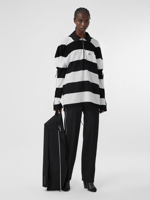 拉鍊細節條紋棉質珠地網眼寬版橄欖球襯衫 (黑色/白色)