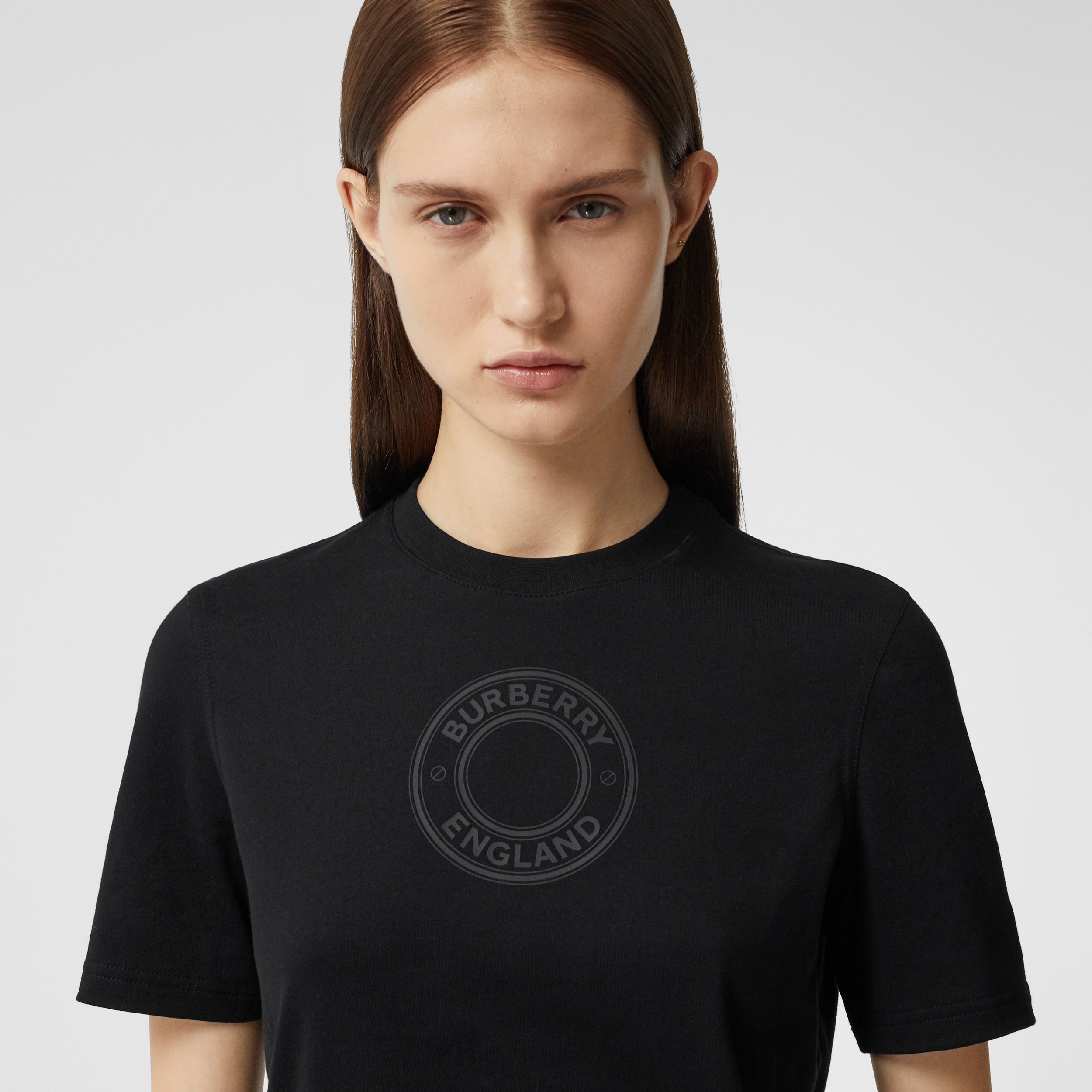Logo Graphic Cotton T-shirt in Black - Women | Burberry - 2