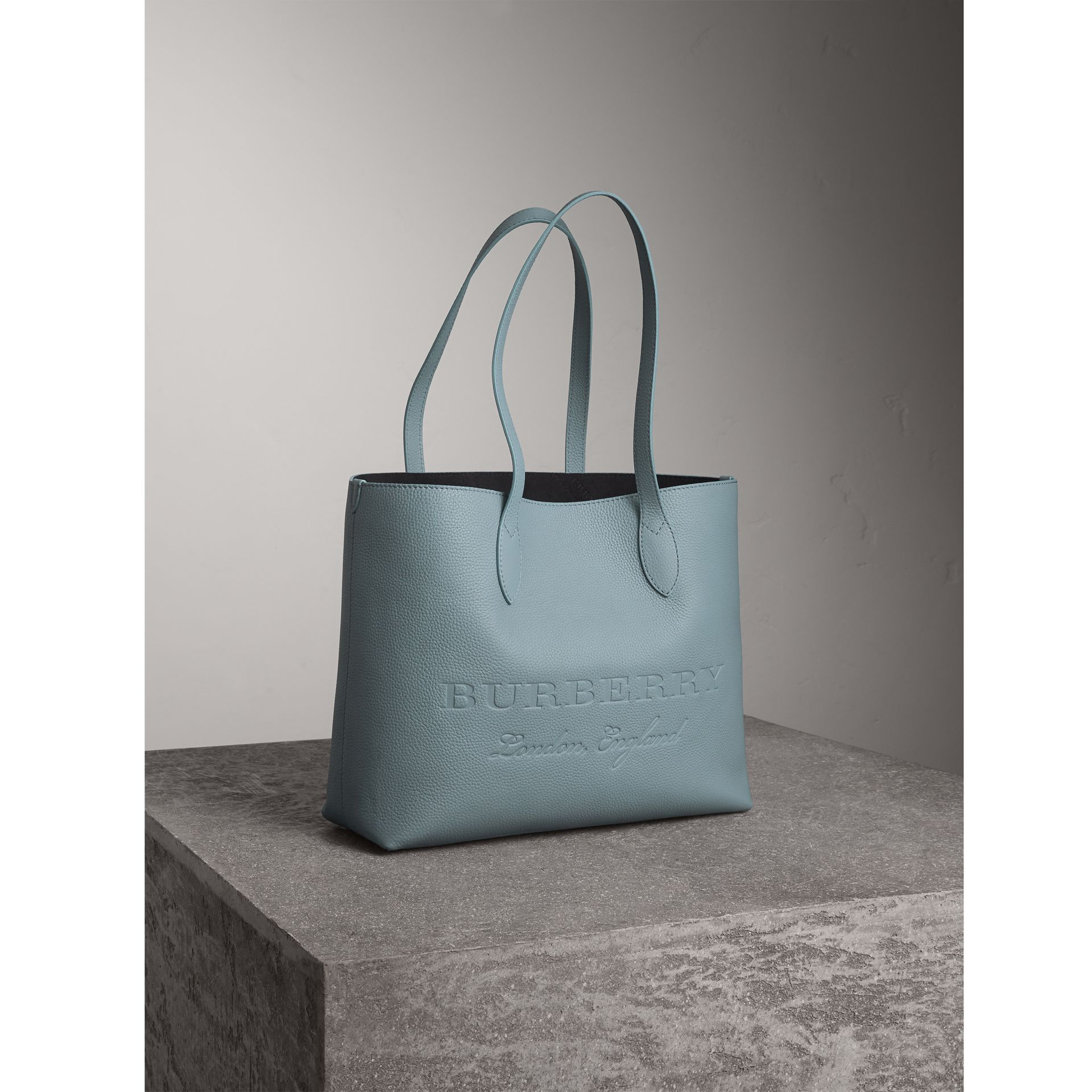 Large Embossed Leather Tote in Dusty Teal Blue | Burberry - gallery image 6