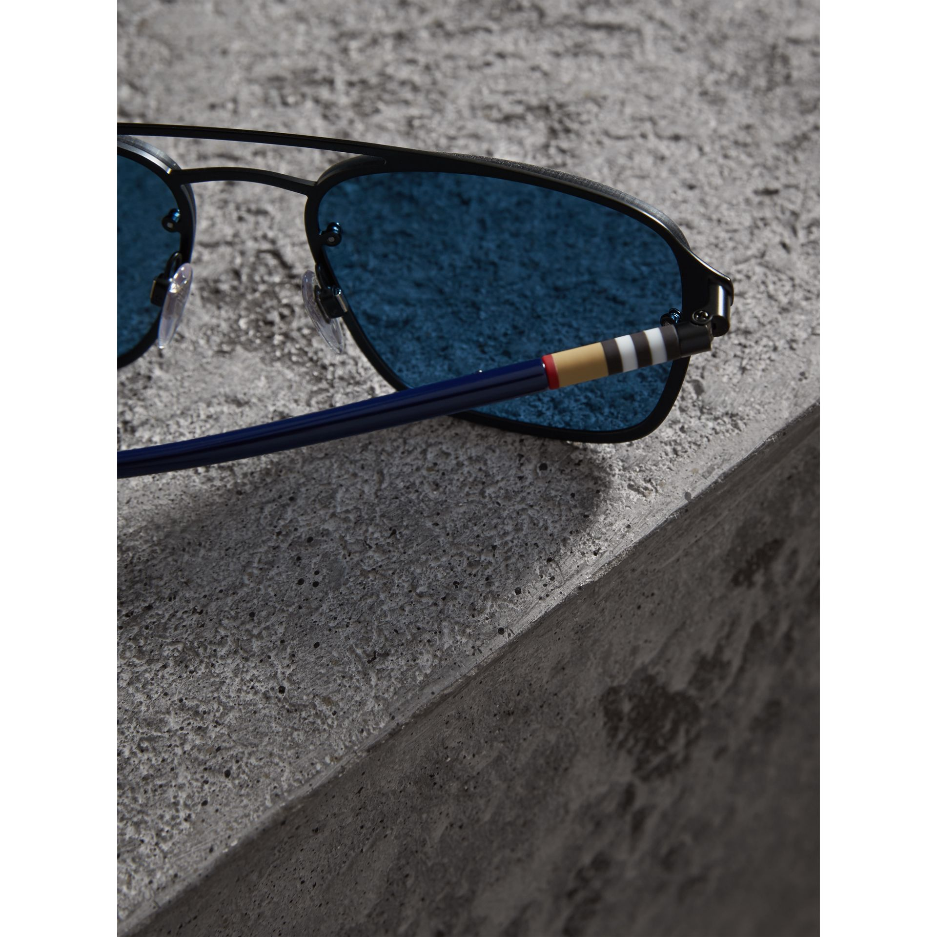 Square Frame Metal Sunglasses in Black/blue - Men | Burberry - gallery image 1