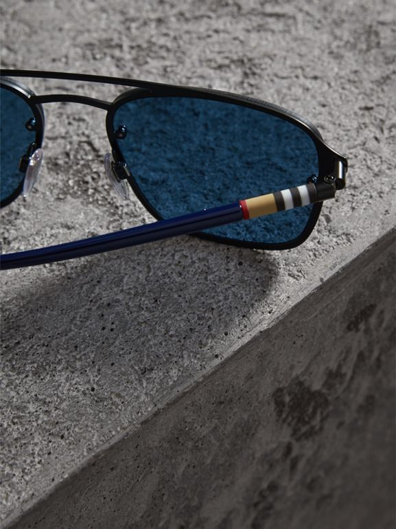 Square Frame Metal Sunglasses in Black/blue - Men | Burberry - cell image 1