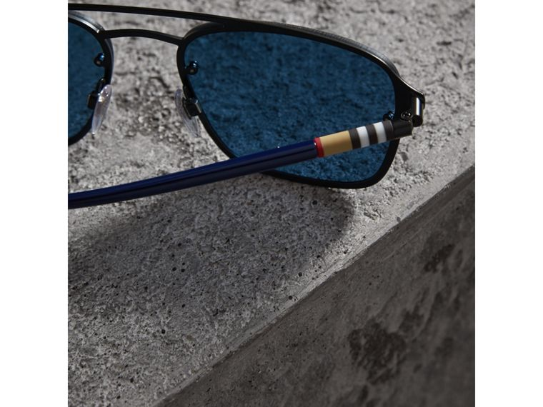 Square Frame Metal Sunglasses in Black/blue - Men | Burberry United States - cell image 1