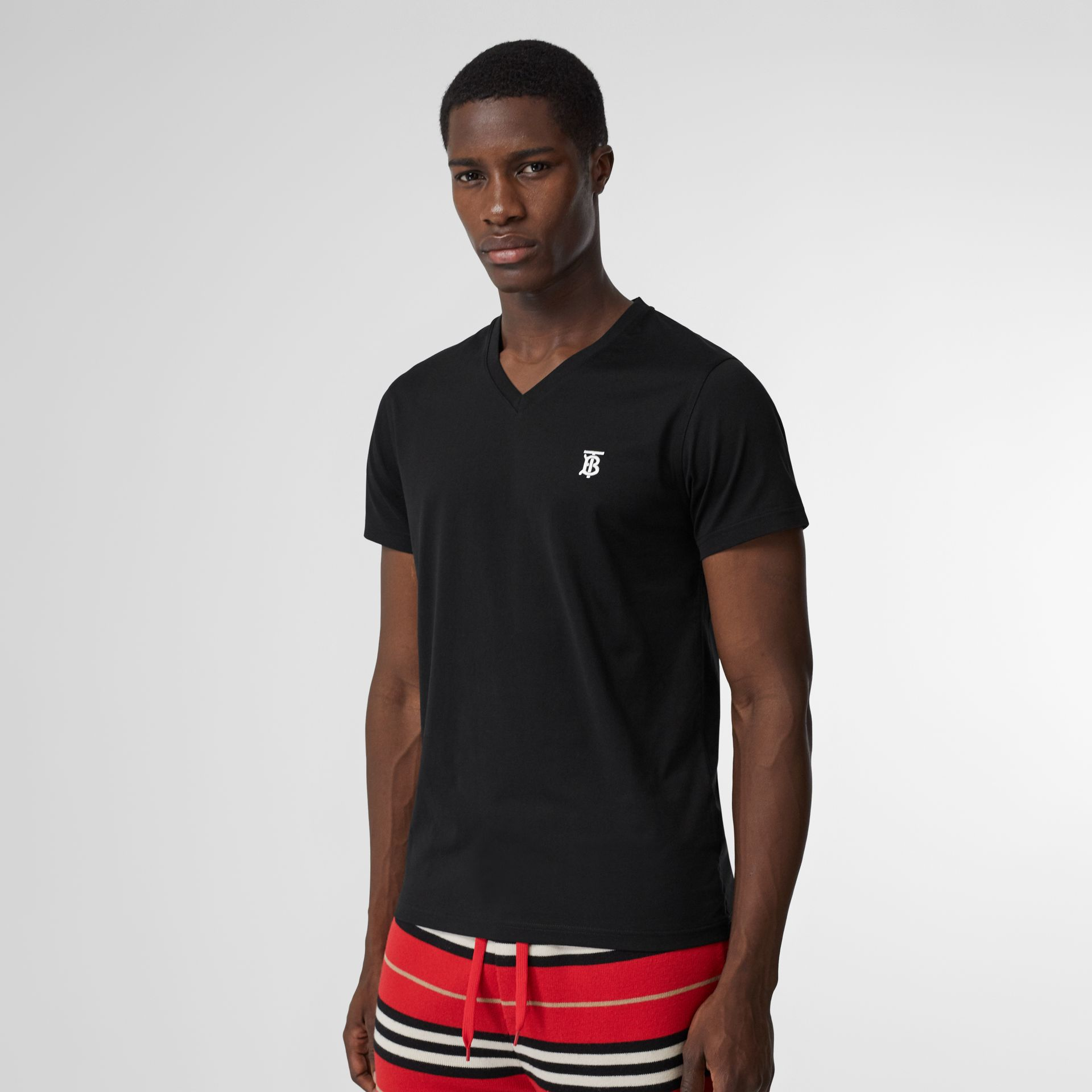 Monogram Motif Cotton V-neck T-shirt in Black - Men | Burberry United Kingdom - gallery image 4