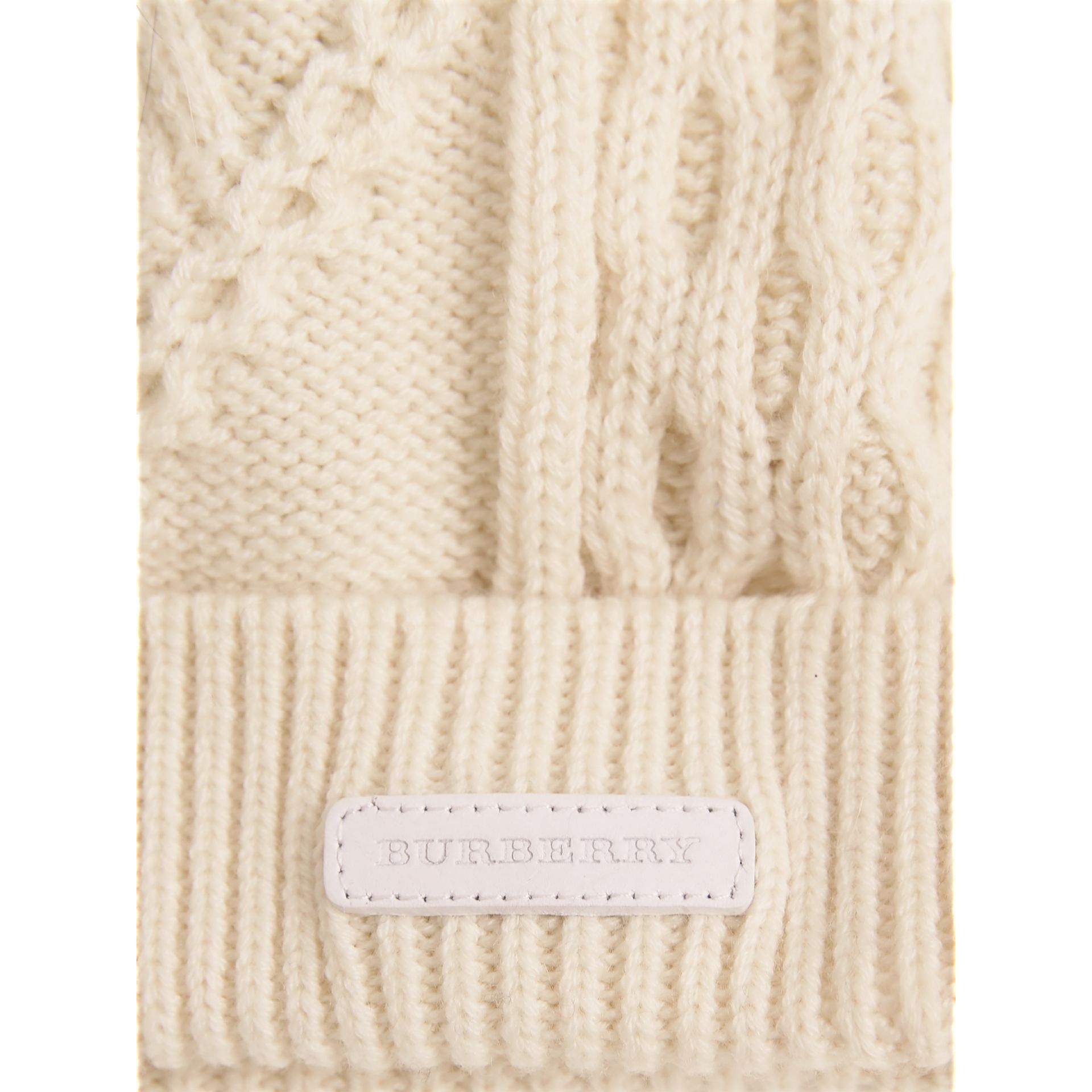 Fox Fur Pom-pom Wool Cashmere Beanie in Natural White | Burberry - gallery image 2