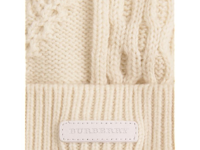 Fox Fur Pom-pom Wool Cashmere Beanie in Natural White | Burberry - cell image 1