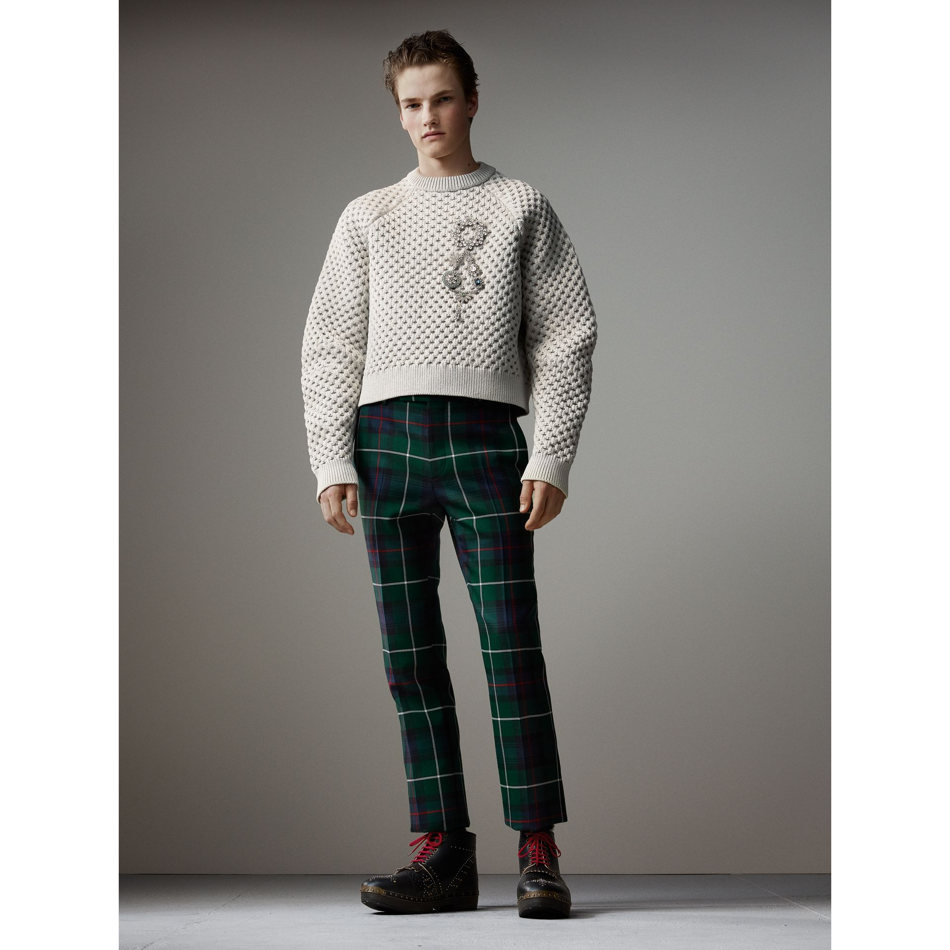 Tartan Wool Cropped Tailored Trousers in Forest Green - Men | Burberry - gallery image 4
