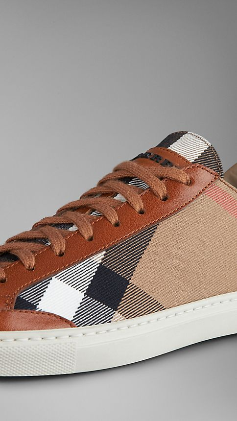 Tan House Check Canvas Trainers - Image 4