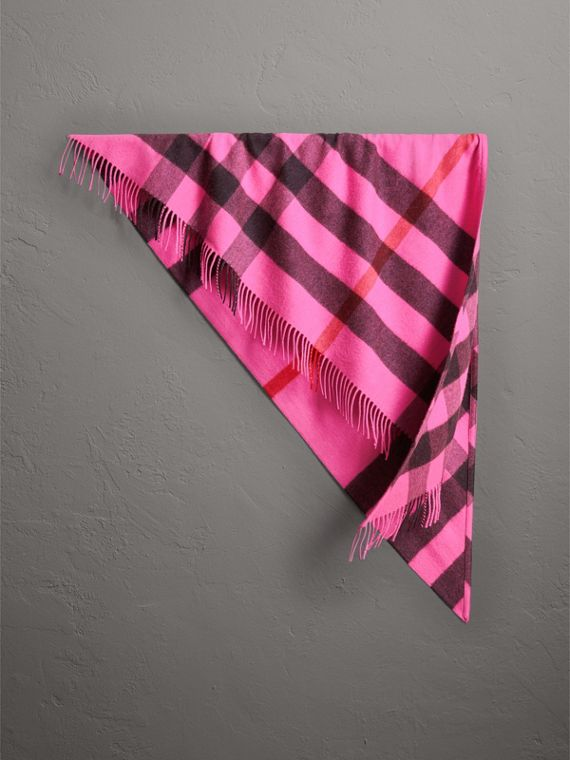 The Burberry Bandana in Check Cashmere in Bright Rose Pink