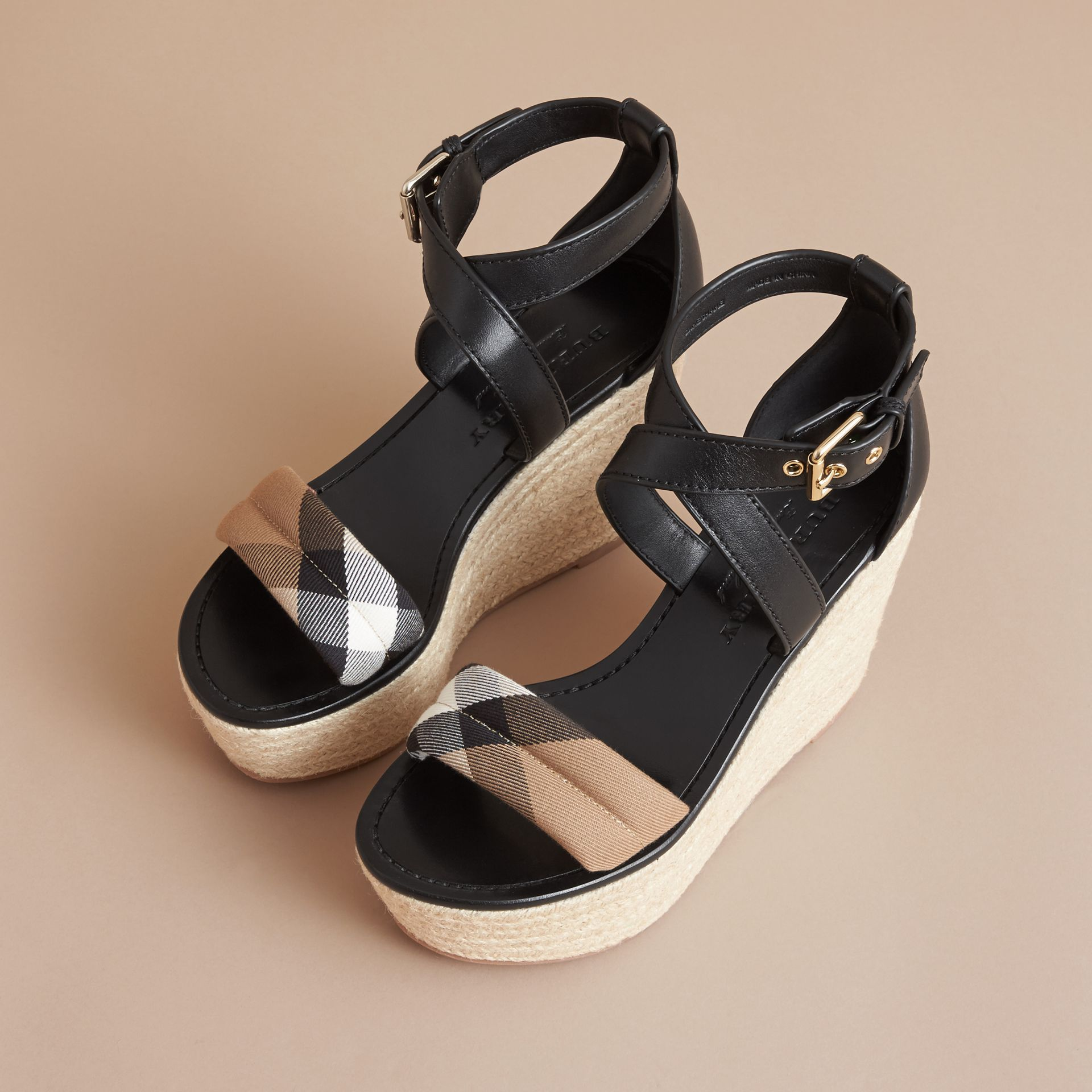 Leather and House Check Platform Espadrille Wedge Sandals in Black - Women | Burberry Singapore - gallery image 4