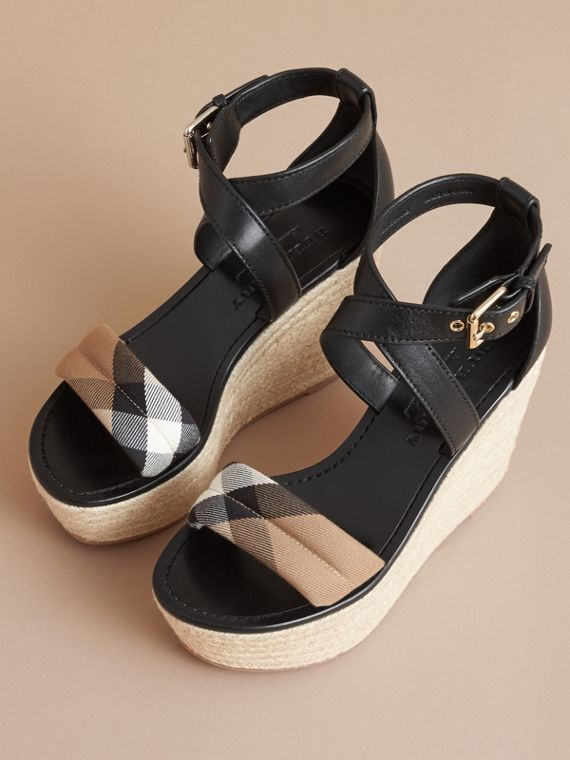 Leather and House Check Platform Espadrille Wedge Sandals in Black - Women | Burberry Hong Kong - cell image 3