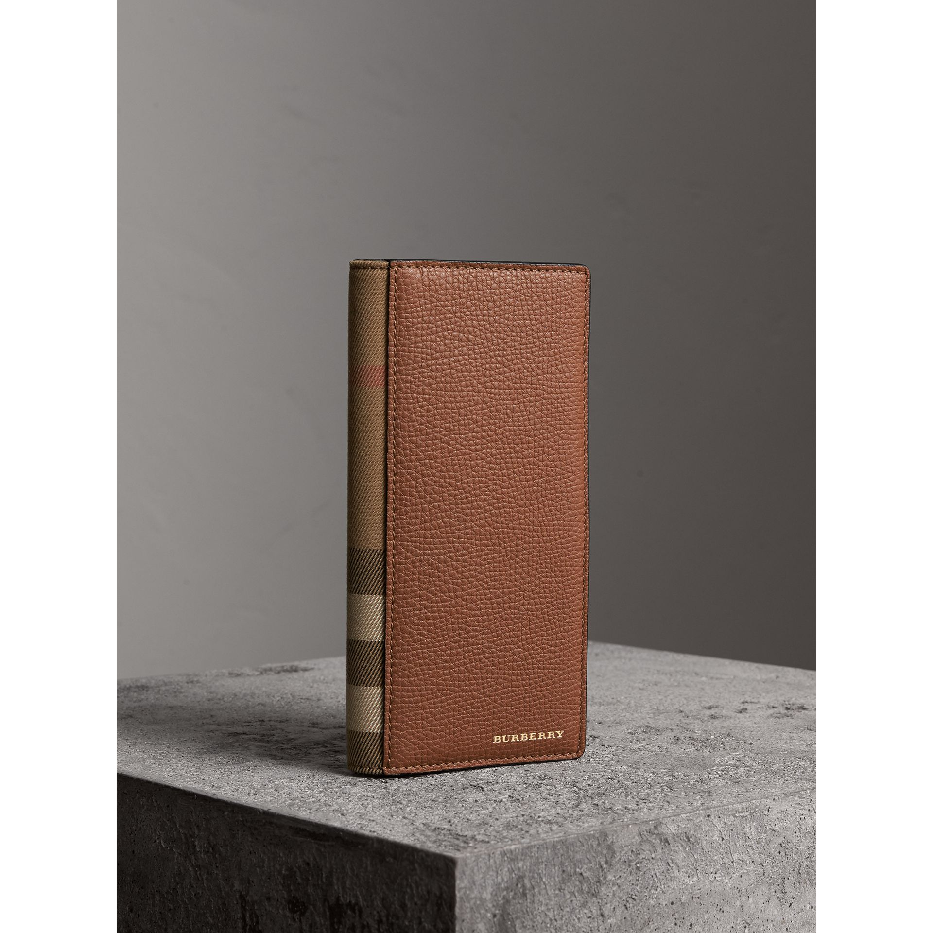 House Check and Grainy Leather Continental Wallet in Chestnut Brown - Men | Burberry - gallery image 1