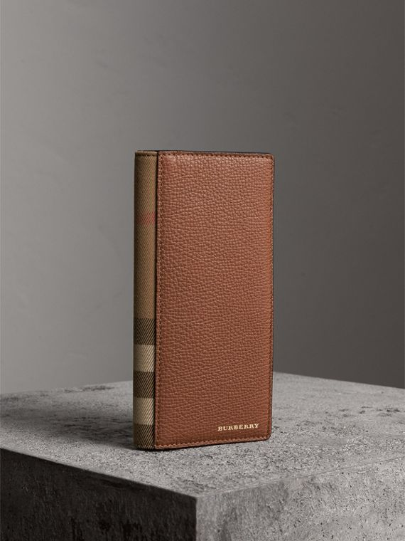 House Check and Grainy Leather Continental Wallet in Chestnut Brown