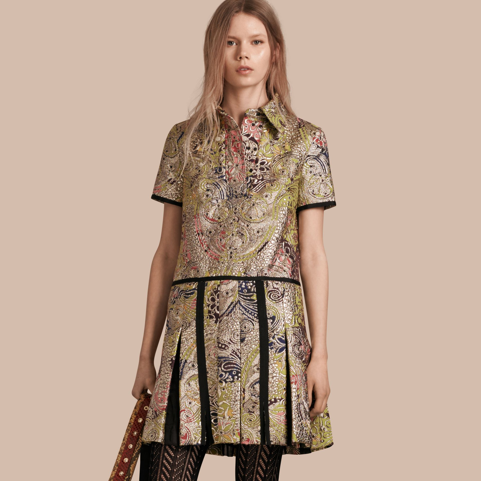 Green oxide Metallic Floral Jacquard Shirt Dress - gallery image 1