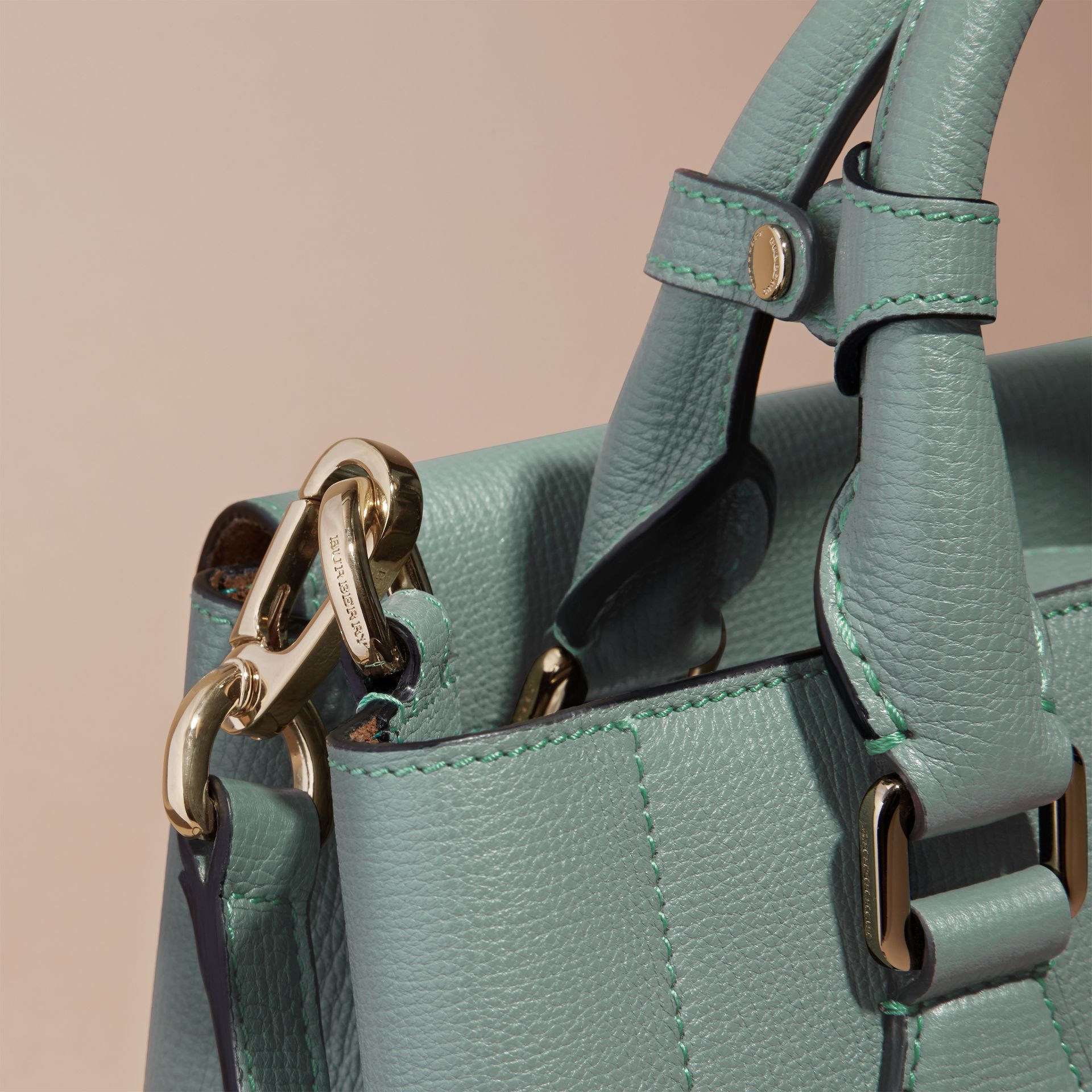 Smokey green The Small Saddle Bag in Grainy Bonded Leather Smokey Green - gallery image 6