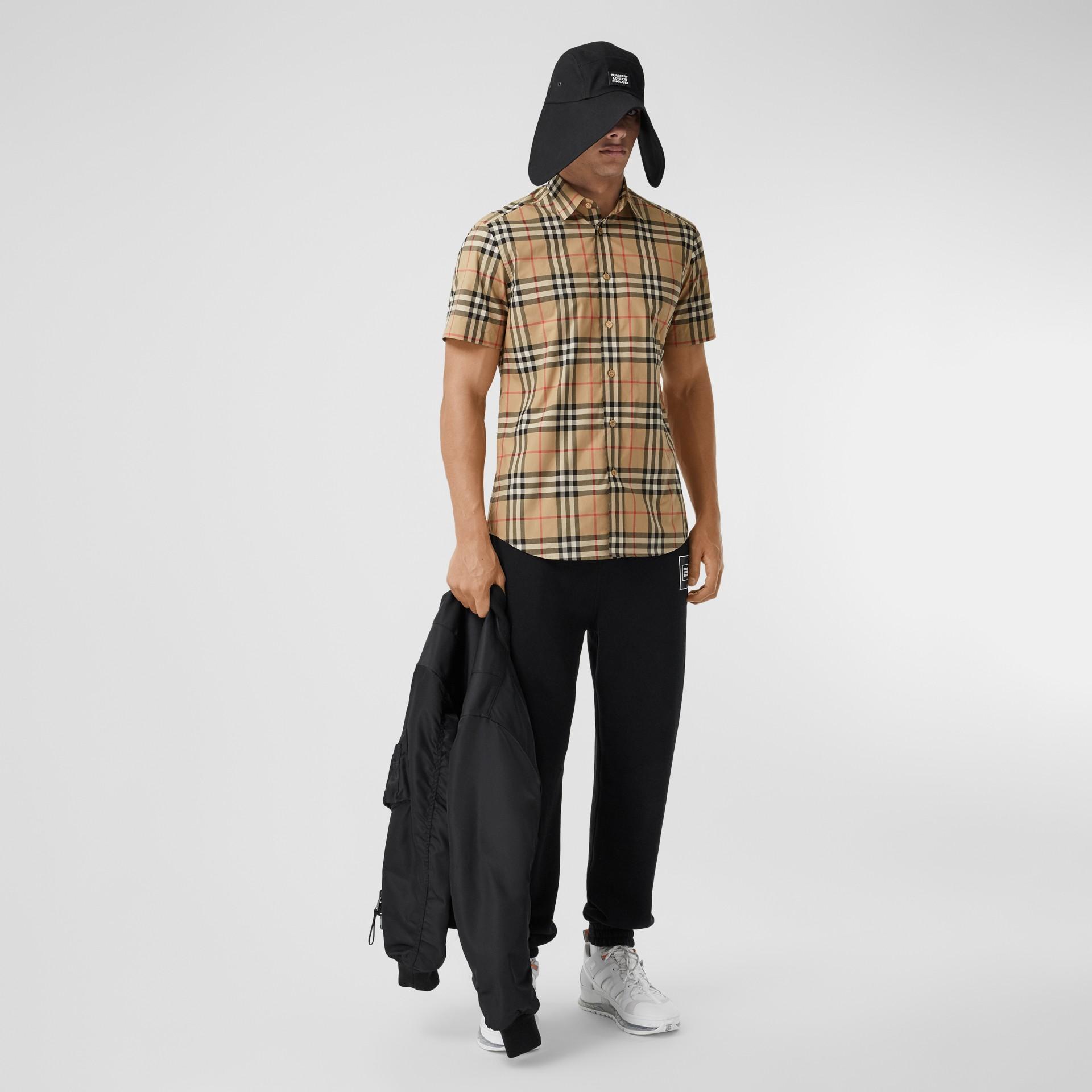 Short-sleeve Check Cotton Poplin Shirt in Archive Beige - Men   Burberry United Kingdom - gallery image 4