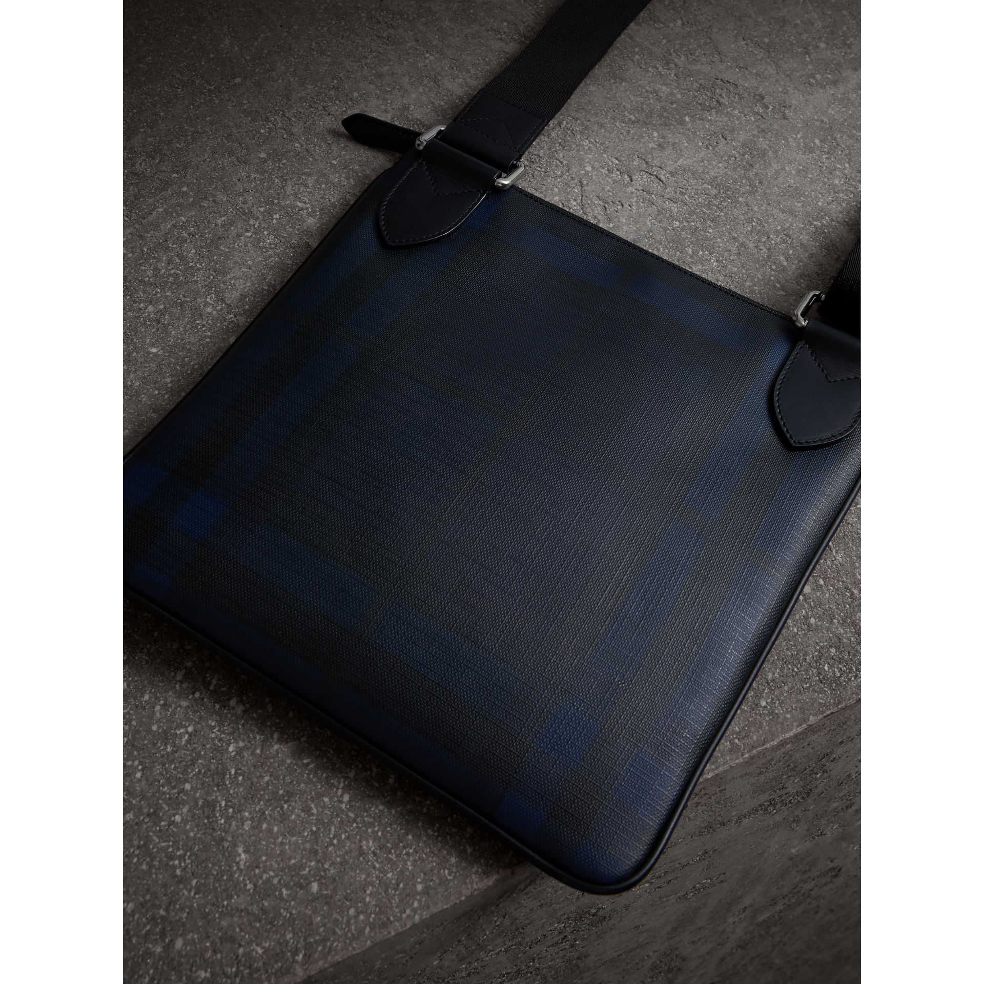 Leather Trim London Check Crossbody Bag in Navy/black - Men | Burberry Hong Kong - gallery image 3