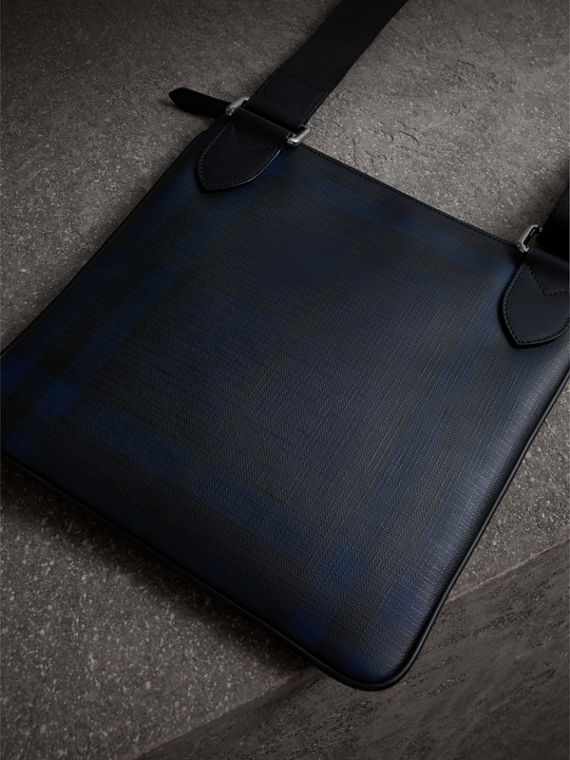 Leather Trim London Check Crossbody Bag in Navy/black - Men | Burberry - cell image 3