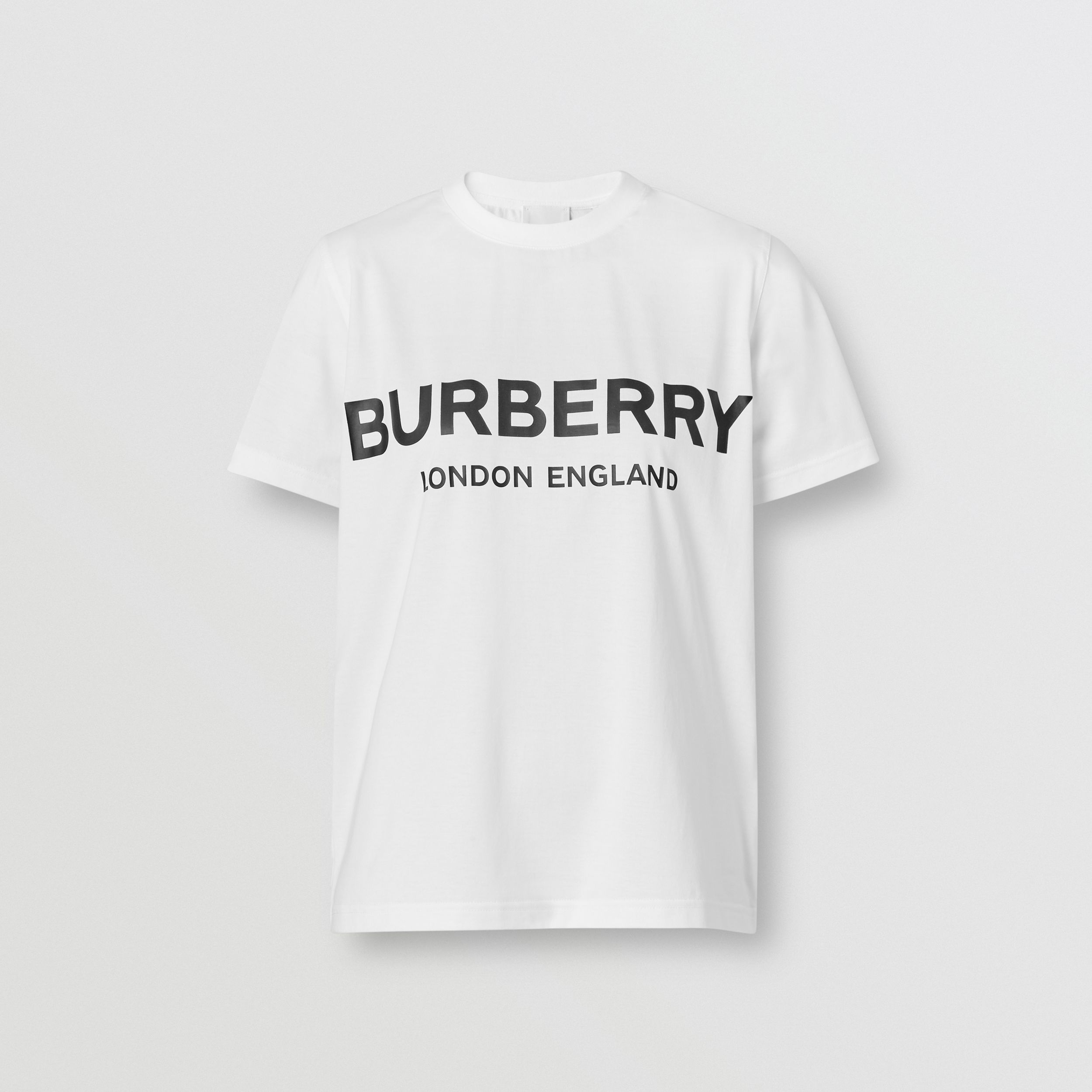 Logo Print Cotton T-shirt in White - Women | Burberry Australia - 4