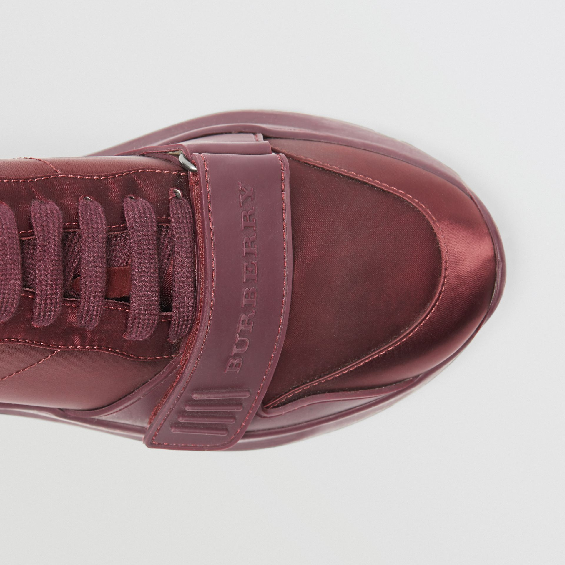 Satin Sneakers in Claret - Women | Burberry United Kingdom - gallery image 1