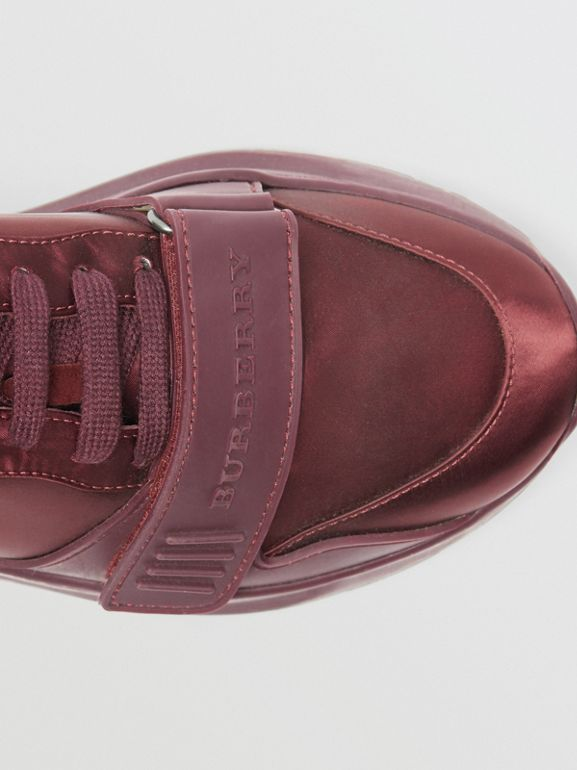 Satin Sneakers in Claret - Women | Burberry - cell image 1