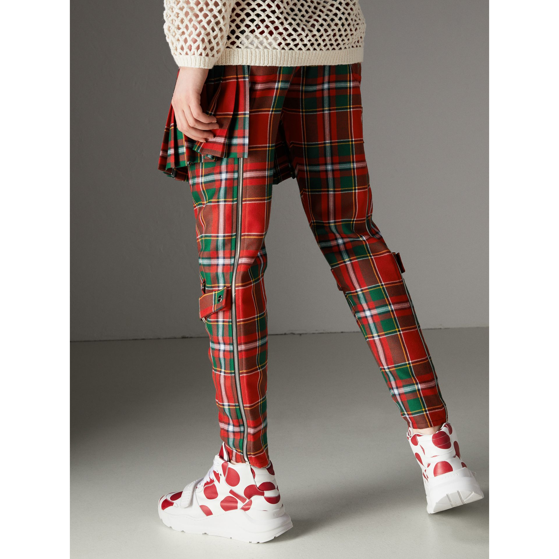 Modern Stewart Royal Tartan Punk Trousers in Bright Red - Women | Burberry - gallery image 2