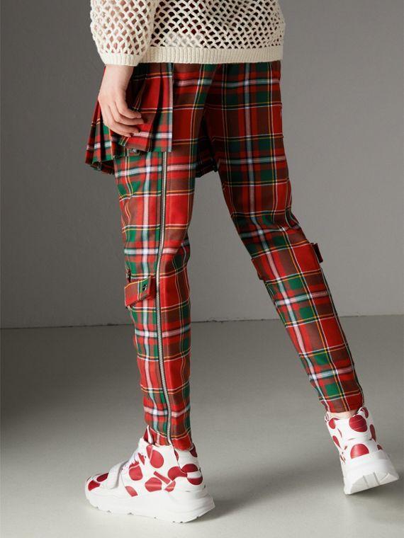 Modern Stewart Royal Tartan Punk Trousers in Bright Red - Women | Burberry Australia - cell image 2