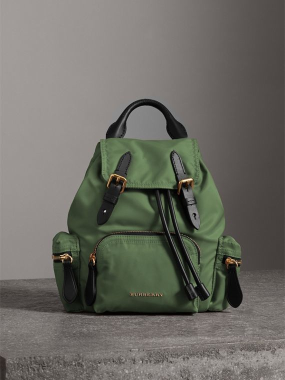 The Small Crossbody Rucksack in Nylon in Racing Green