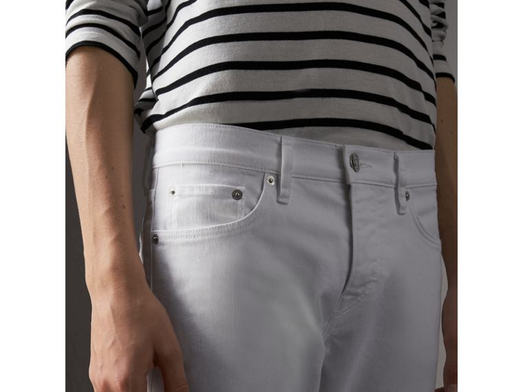 Straight Fit Stretch Japanese Denim Jeans in White - Men | Burberry - cell image 4