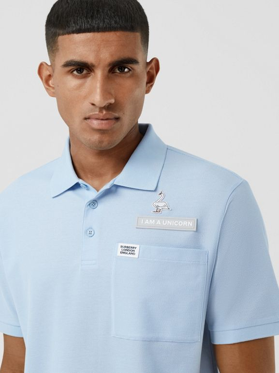 Swan and Slogan Appliqué Cotton Polo Shirt in Pale Blue - Men | Burberry - cell image 1
