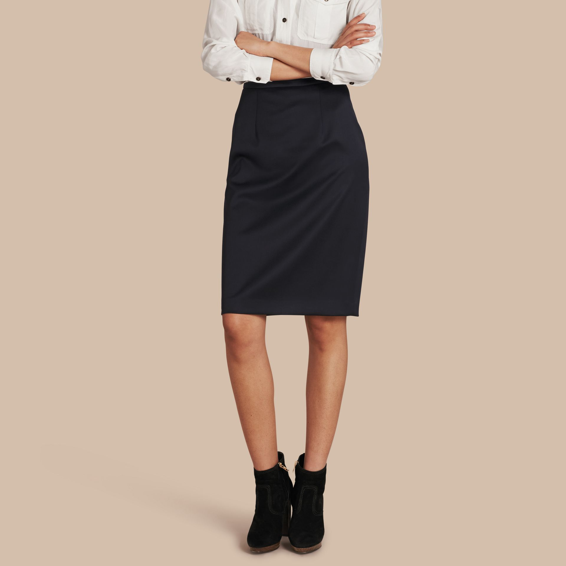 Stretch Virgin Wool Tailored Pencil Skirt - gallery image 1