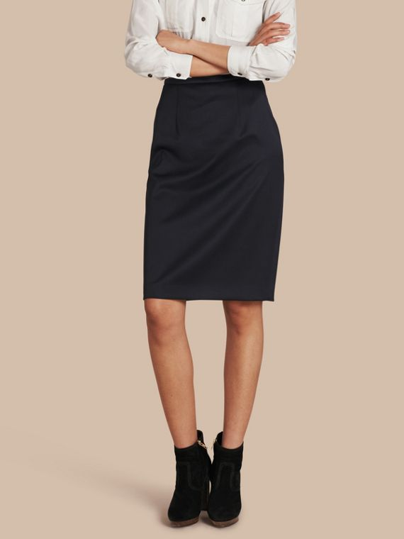 Stretch Virgin Wool Tailored Pencil Skirt Ink