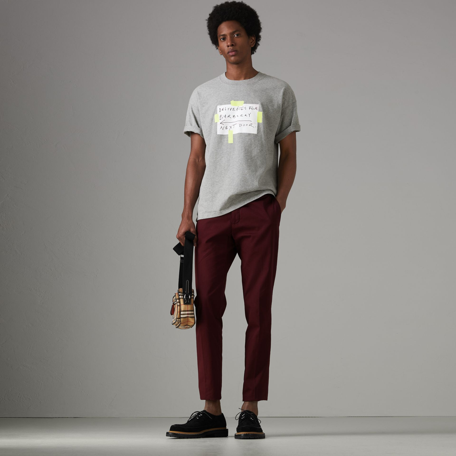Sign Print Cotton T-shirt in Pale Grey Melange - Men | Burberry - gallery image 0