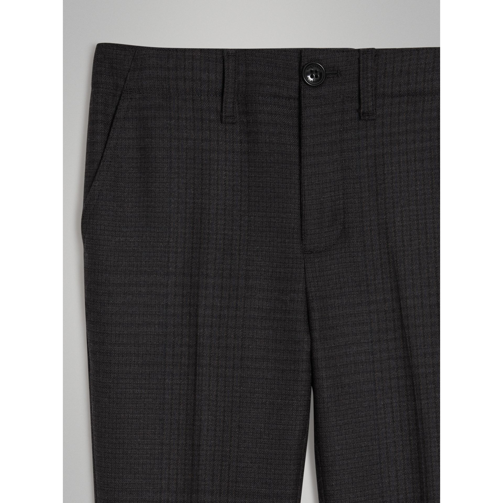 Prince of Wales Check Wool Tailored Trousers in Dark Grey | Burberry Australia - gallery image 4