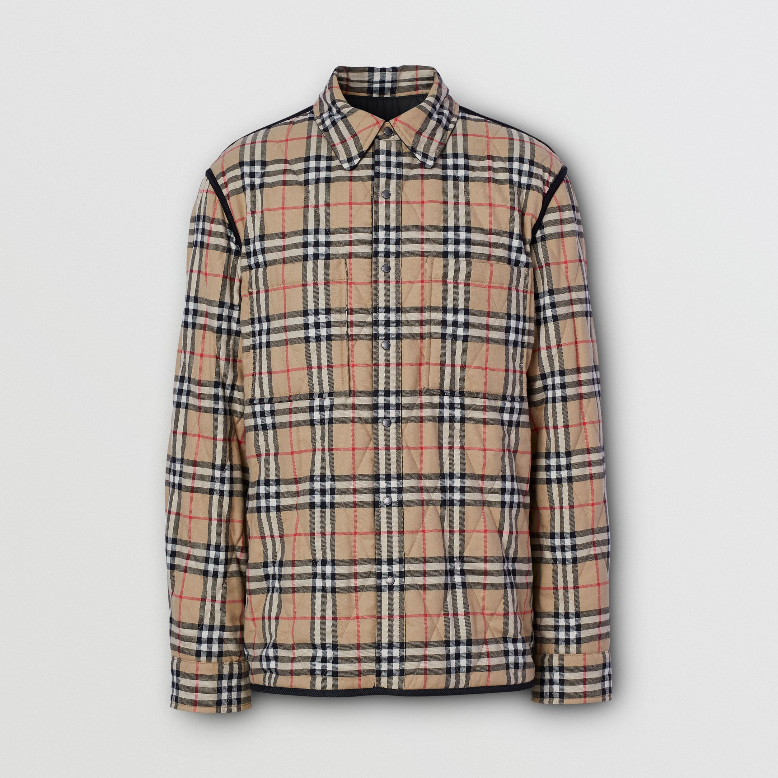 Reversible Quilted Vintage Check Cotton Overshirt - Men | Burberry - 4