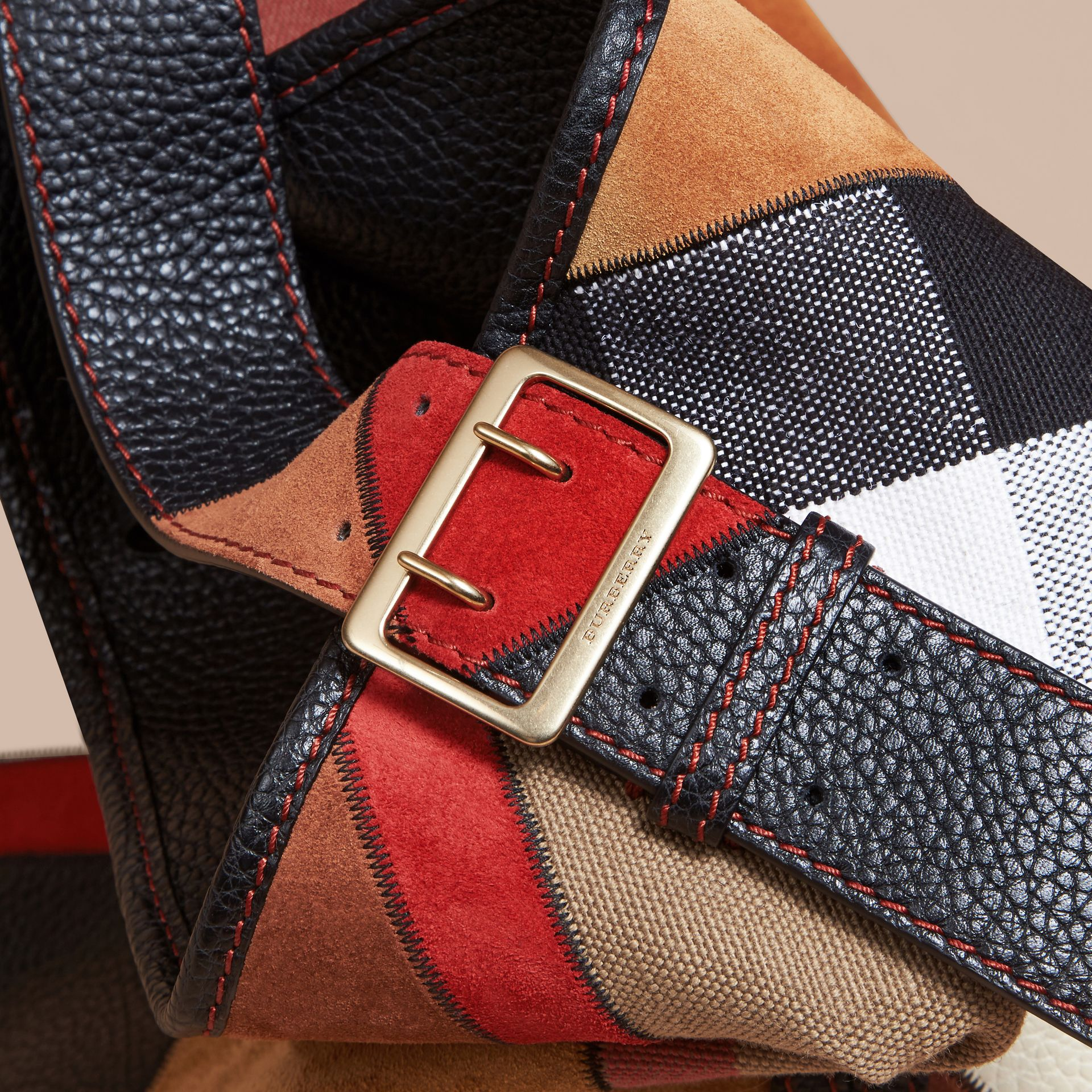 The Medium Ashby in Patchwork Canvas Check and Leather Black - gallery image 2
