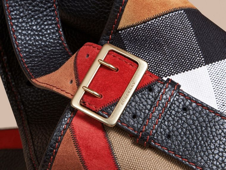 The Medium Ashby in Patchwork Canvas Check and Leather Black - cell image 1