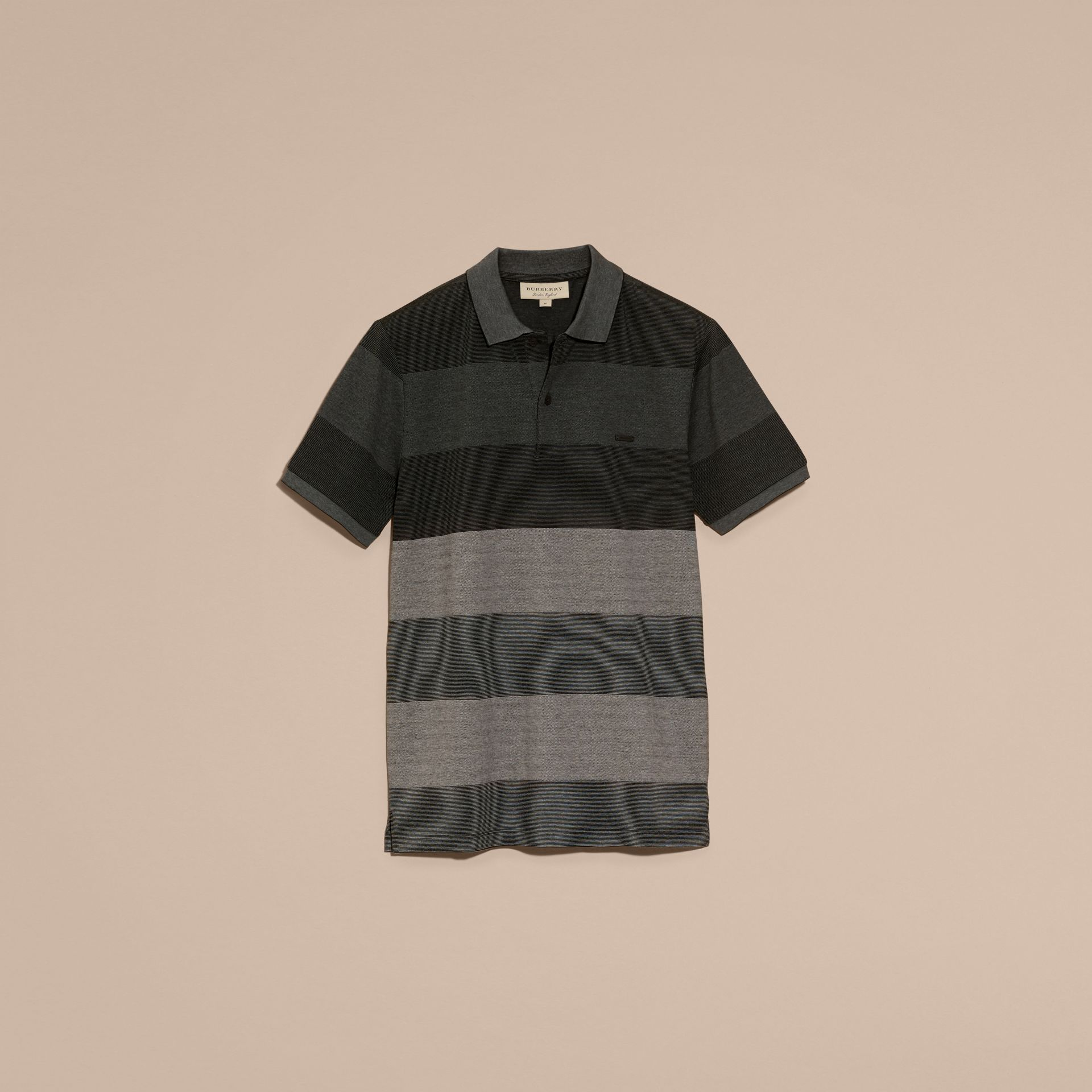 Mid grey melange Striped Stretch Cotton Piqué Polo Shirt Mid Grey Melange - gallery image 4