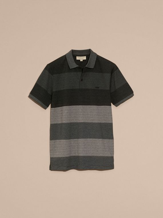 Mid grey melange Striped Stretch Cotton Piqué Polo Shirt Mid Grey Melange - cell image 3