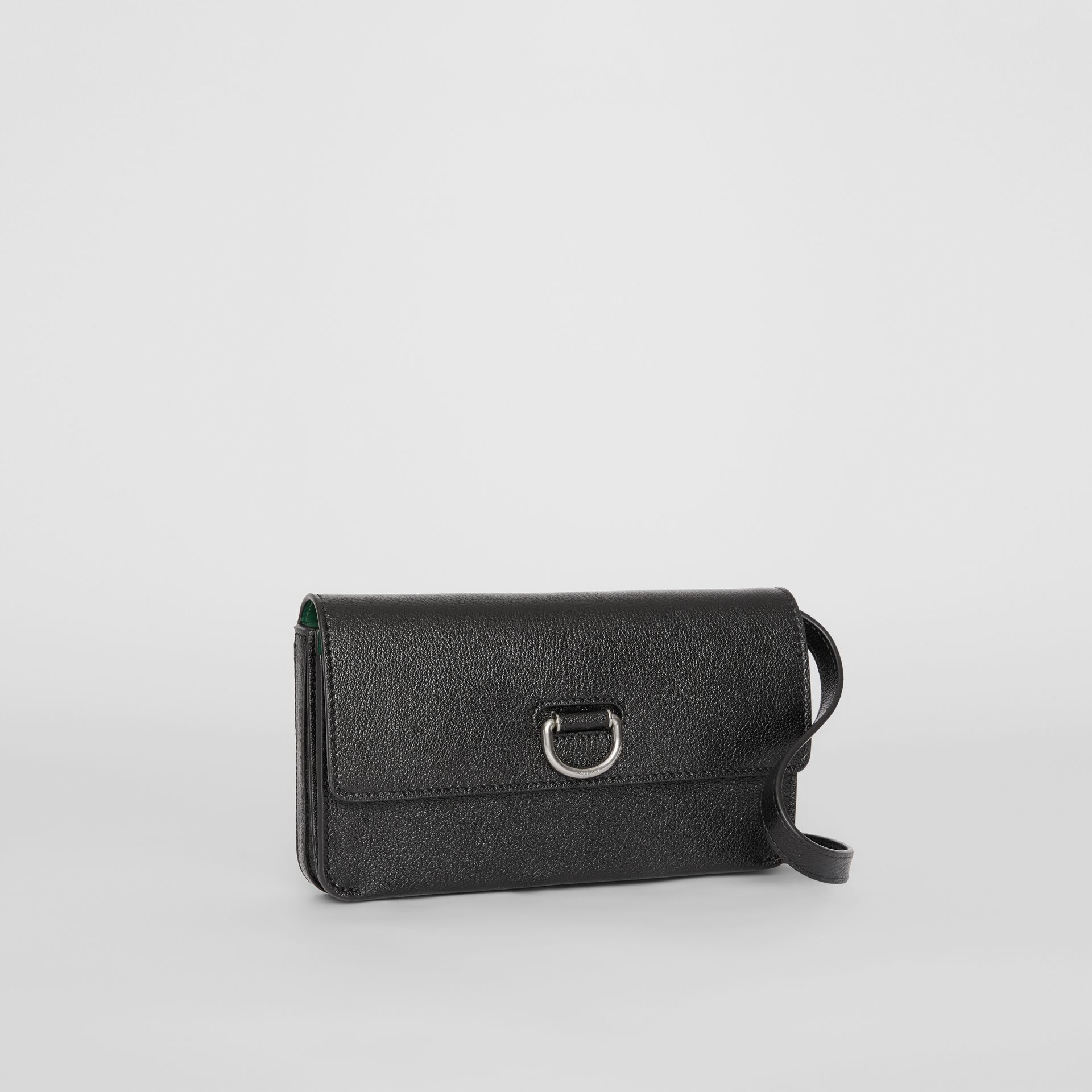 D-ring Leather Wallet with Detachable Strap in Black - Women | Burberry - gallery image 6