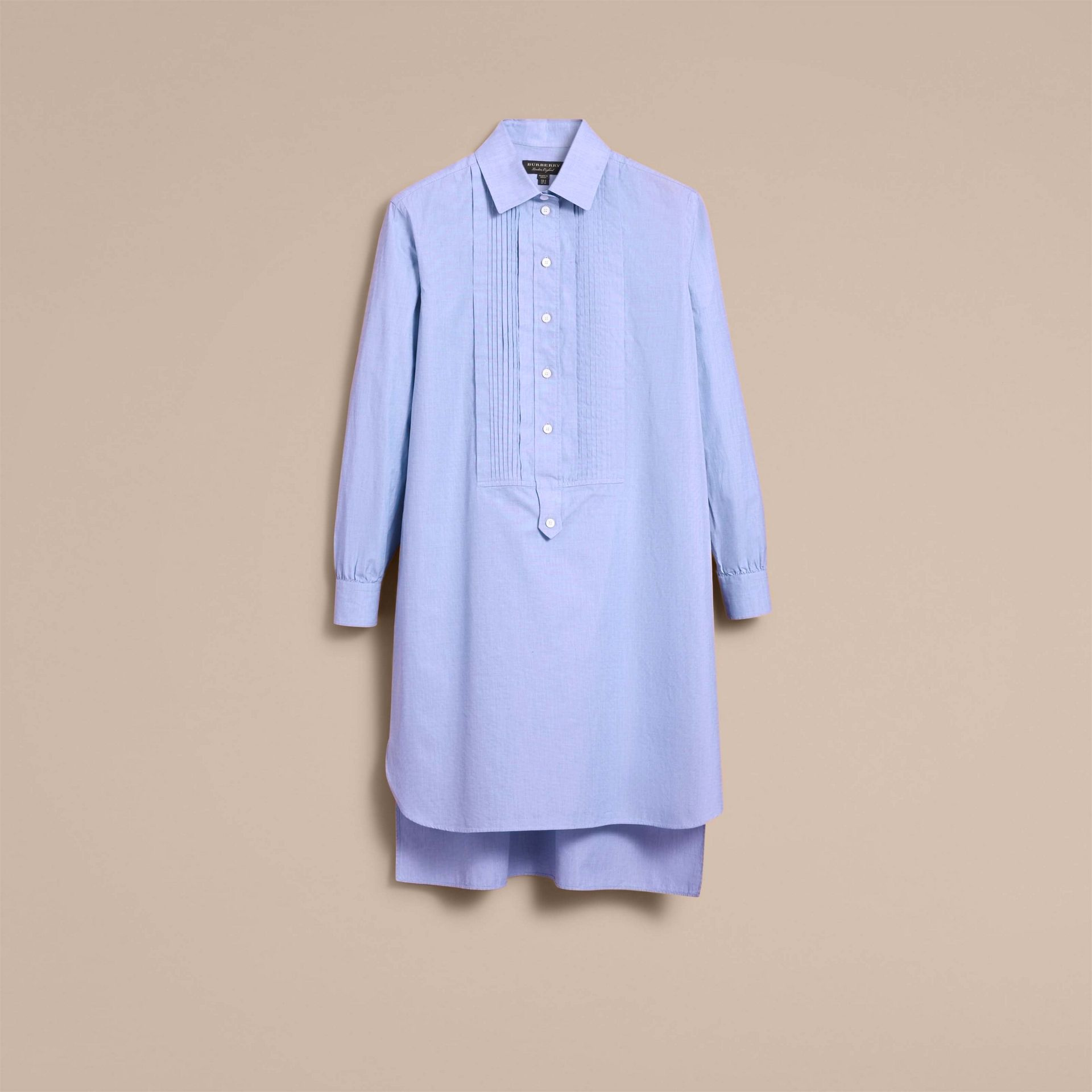 Robe chemise tunique en chambray de coton - Femme | Burberry - photo de la galerie 4