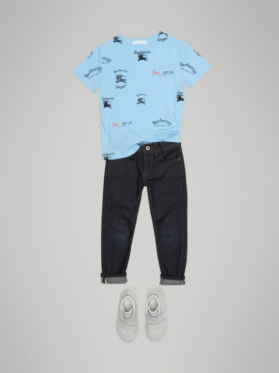 T-Shirt aus Jersey mit Vintage-Logomuster (Himmelblau)