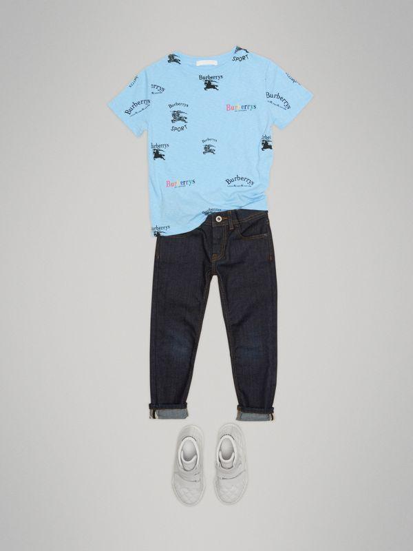 Archive Logo Print Jersey T-shirt in Sky Blue - Boy | Burberry - cell image 2